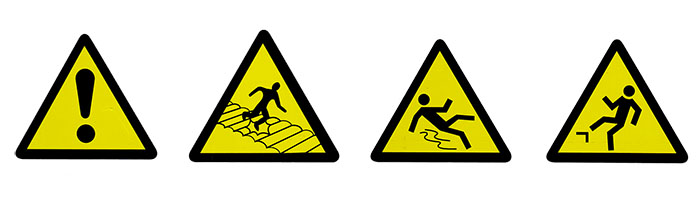 危険を知らせる数種類のアイコン